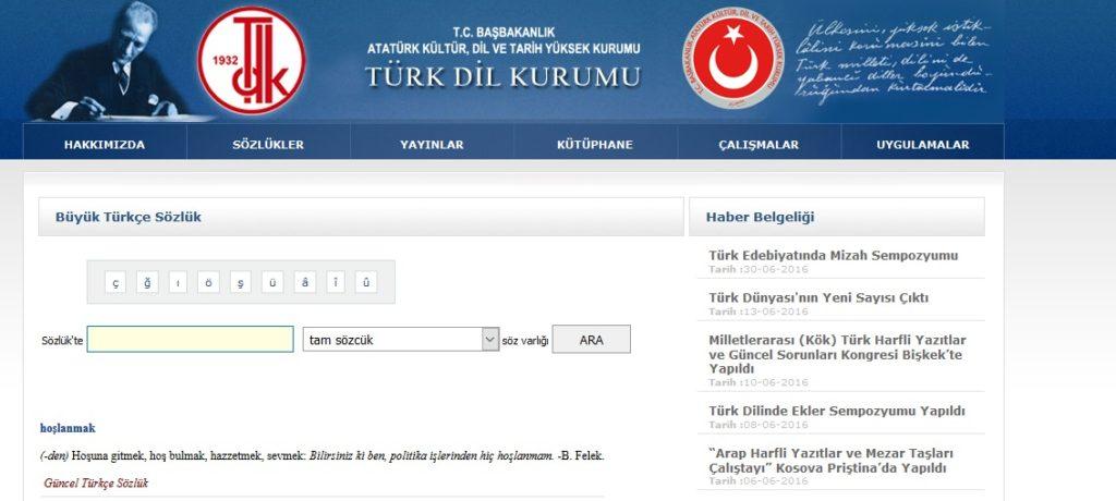 Słownik turecko-turecki online na stronie TDK
